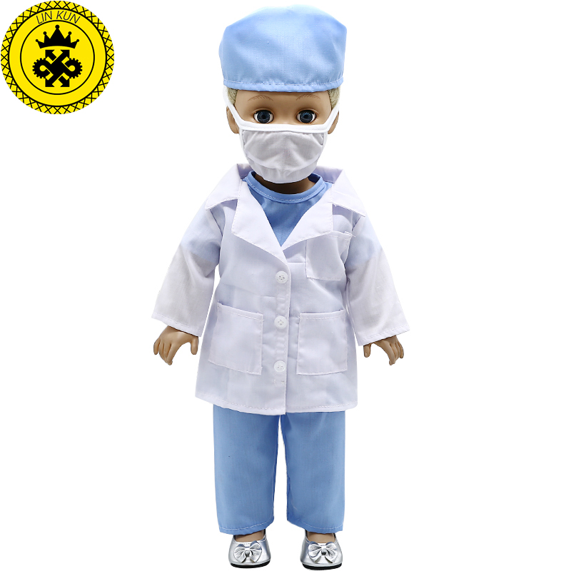 American Girl Doll Clothes Blue Doctor Nurses Clothing Suit for 18 inch American Girl Doll Accessories Children's Day Gift 607 american girl doll clothes superman and spider man cosplay costume doll clothes for 18 inch dolls baby doll accessories d 3