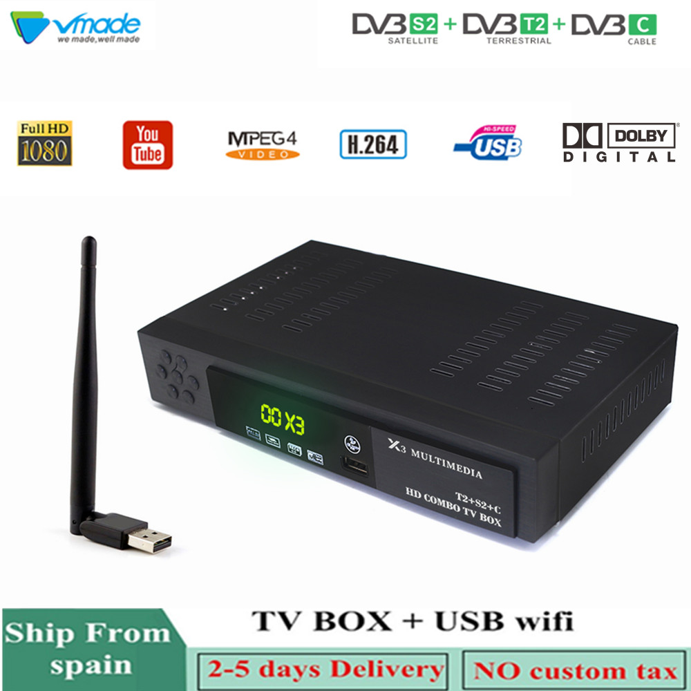 Vmade HD Digital DVB-T2 DVB-S2 + C Combo Satellite Terrestrial TV Tuner H.264 MPEG-2/4 Support AC3 CCCAM IPTV With USB WIFI