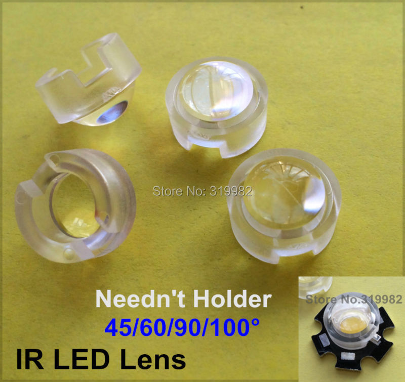 100 pcs 13mm LED mini Lens 15 30 45 60 90 100 Degree Neednt Holder 1W 3W synthetical IR LED Power lenses Reflector Collimator
