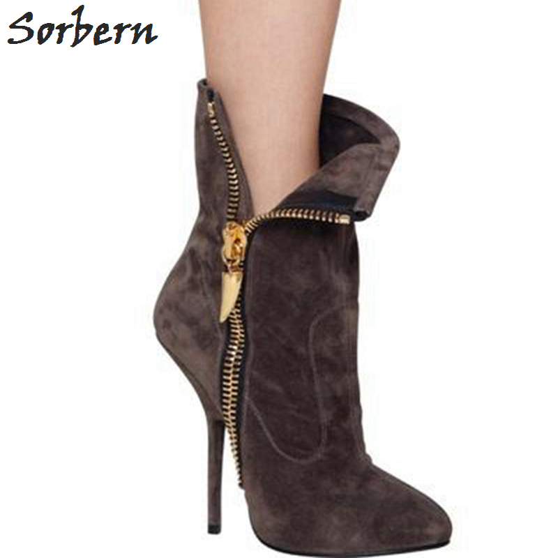 Sorbern Ankle Boots Two ways European Style Boots Pointed Toe Side Zipper Winter Shoes Women High Heels Custom Colors Size 15