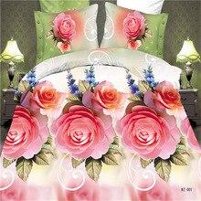 Buena calidad de lujo serie 3d juego de cama tamaño queen rose patrón diseño funda de almohada sábana funda nórdica textiles para el hogar juegos