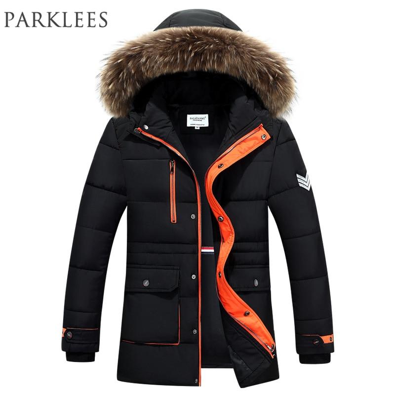 New Trend Fur Hooded Parka Men Doudoune Homme Hiver 2016 Mens Winter Fashion Cotton-Padded Slim Down Jacket Black Parkas Hommes