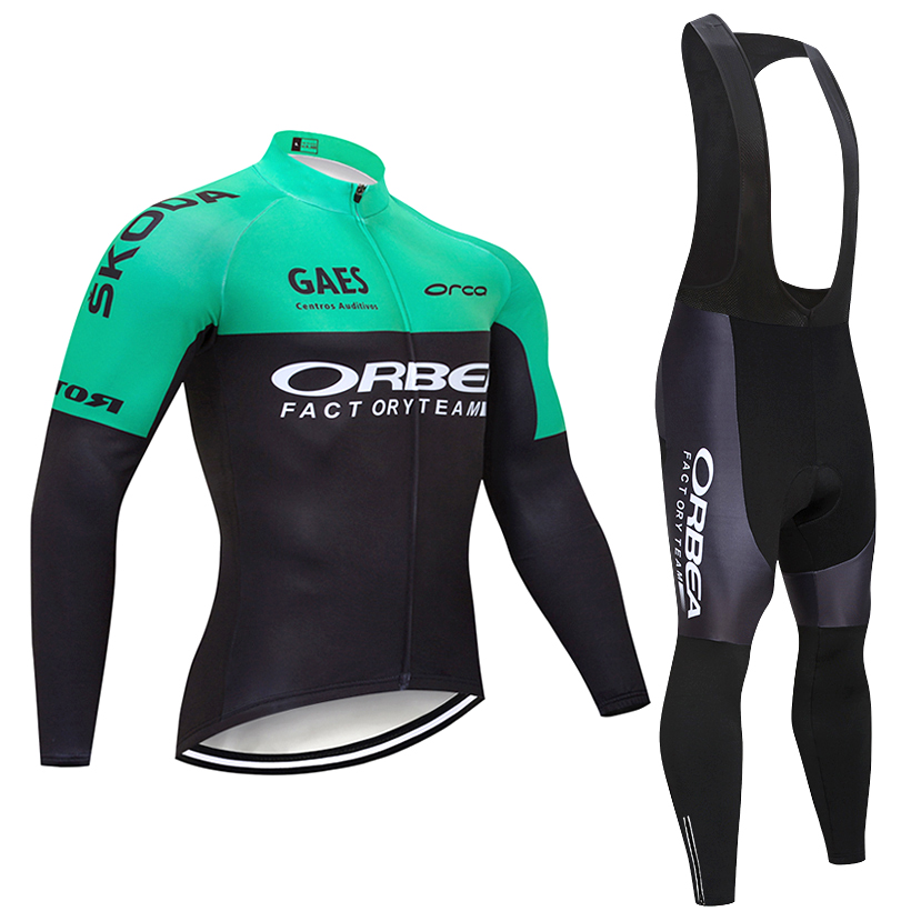2018 Hiver ORBEA Cycling TEAM TOPS 9D Pad vélo pantalon costume Ropa Ciclismo Coupe-Vent Thermique polaire Vélo Maillot Culotte Vêtements