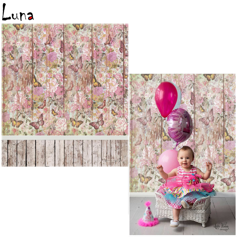 Vinyl Photo Backdrops Floral Butterfly Wood Wall Oxford Photography Background Wood Floor For Children photo studio  vinyl photo backdrops for photo studio button oxford photography background wood floor for children free shipping