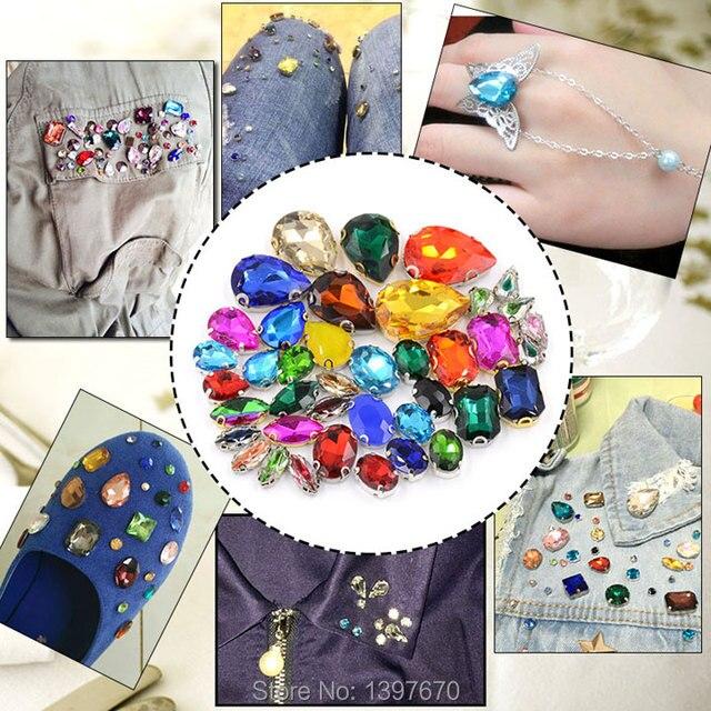 12pcs 8x13mm sew on teardrop silver setting Glass Crystal Jewellery Foiled Rhinestone stones DIY shoes/dress hair accessories 2