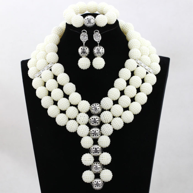 White Costume African Jewelry Sets Nigerian Beads Wedding Set Balls Bridal Statement Free