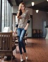 бесплатная доставка женщины с ди Recover Leopard печати хлопок футболки