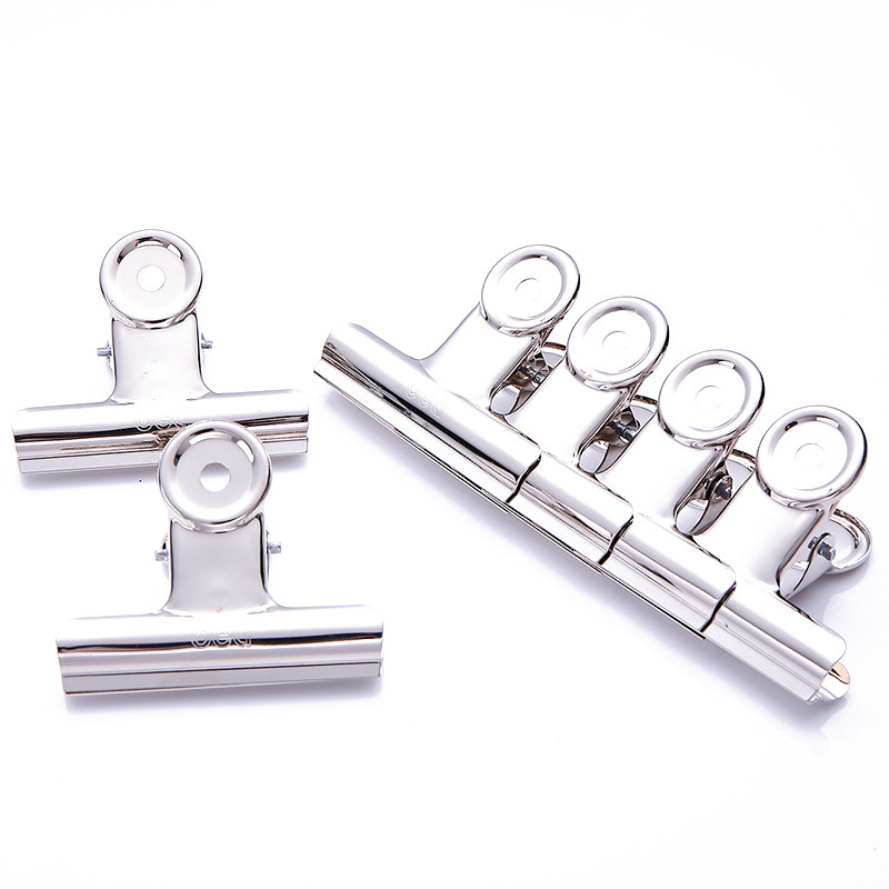 Free Shipping(6pcs/lot) 38mm Round Metal Grip Clips Silver Bulldog Clip Stainless Steel Ticket Clip Stationery