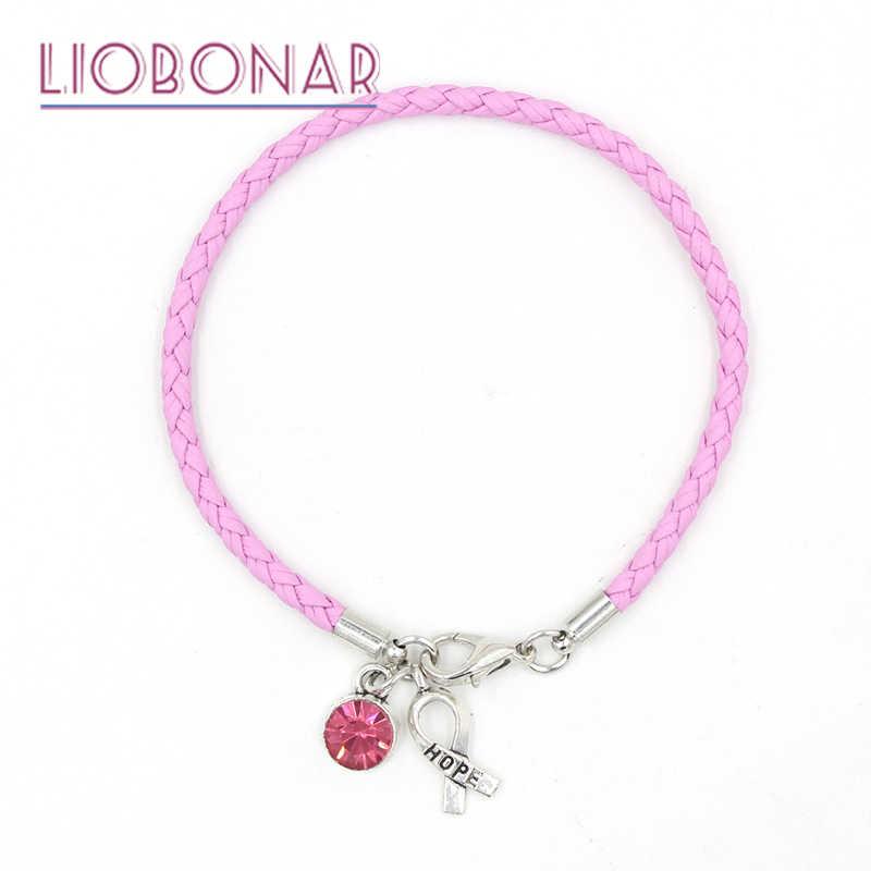 1 Pza pulsera de Concientización del cáncer de mama joyería de cuero Rosa esperanza cinta pulseras de encanto para el regalo de la base del Centro del Cáncer