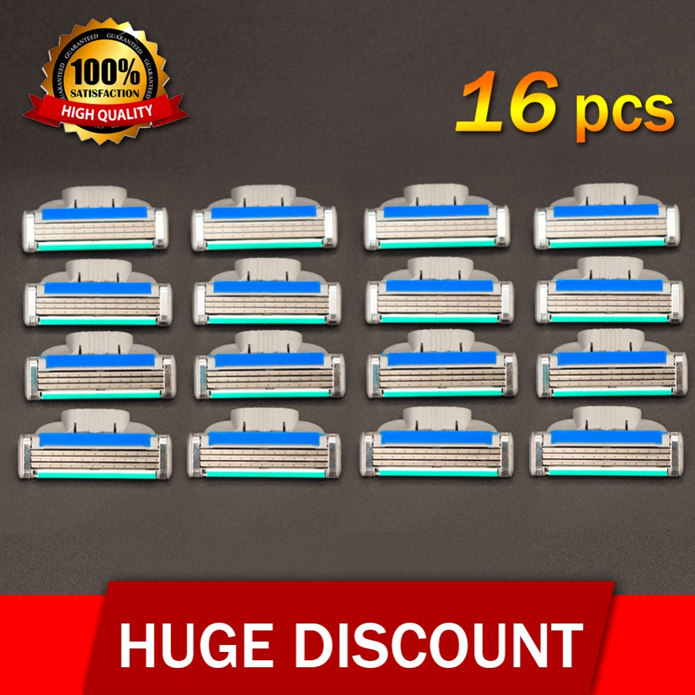 16pcs/Pack Men's Face Shaving Razor Blades Beard Shaver Blade Men High Quality Sharp Razors Blade For Gillettee Mach 3