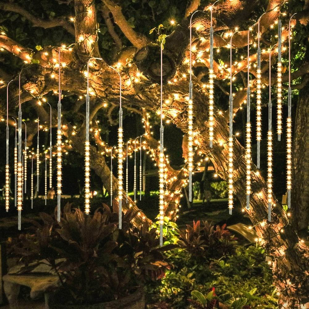LED Meteor Shower Rain Lights Christmas Lights Outdoor Waterproof For Christmas New Year Wedding Party Cascading Tree Light D35