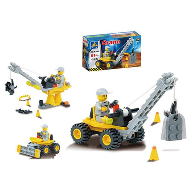 51pcs/set DIY Building Blocks Toy Mini Crane Action Figure