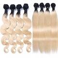 4Pcs/Lots Burmese Virgin Human Hair T1B/613 Body Wave Blonde Ombre Hair Extension Two Tone Blond Human Hair Bundles