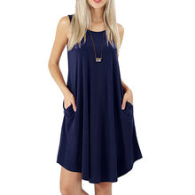MUQGEW solid color Tank Dress Party dresses Women s Sleeveless Dress  Pockets Casual Swing T-Shirt Dresses Please check the c3d6acb7c