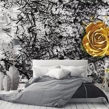 [Self-Adhesive] 3D Black Empty Yellow Rose 6 Wall P