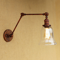 Vintage Loft wall light LED Industrial CLEAR GLASS lampshade free adjust long swing arms for bedroom restaurant bar E27 220v