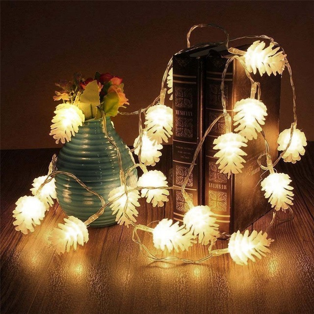 35m 20 led christmas pine cone string fairy lights holiday lighting decoration for living room