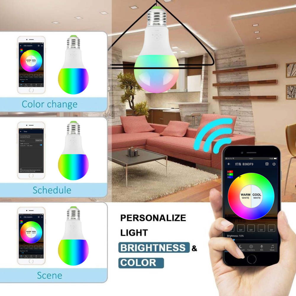 New WiFi Smart LED Bulb Lights E27 RGB Color Changing Dimmable Light App Remote Control work with Alexa and Google Assistant
