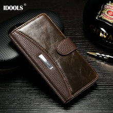 IDOOLS Brand Luxury Vintage PU Leather Case For Sony Xperia M4 Aqua E2303 E2353 E2333 Cover Wallet with Stand and Fashion LOGO