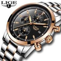 2018 New LIGE Mens Watches Top Brand Luxury Fashion Business Quartz Watch Men Military Sport Waterproof Watch Relogio Masculino
