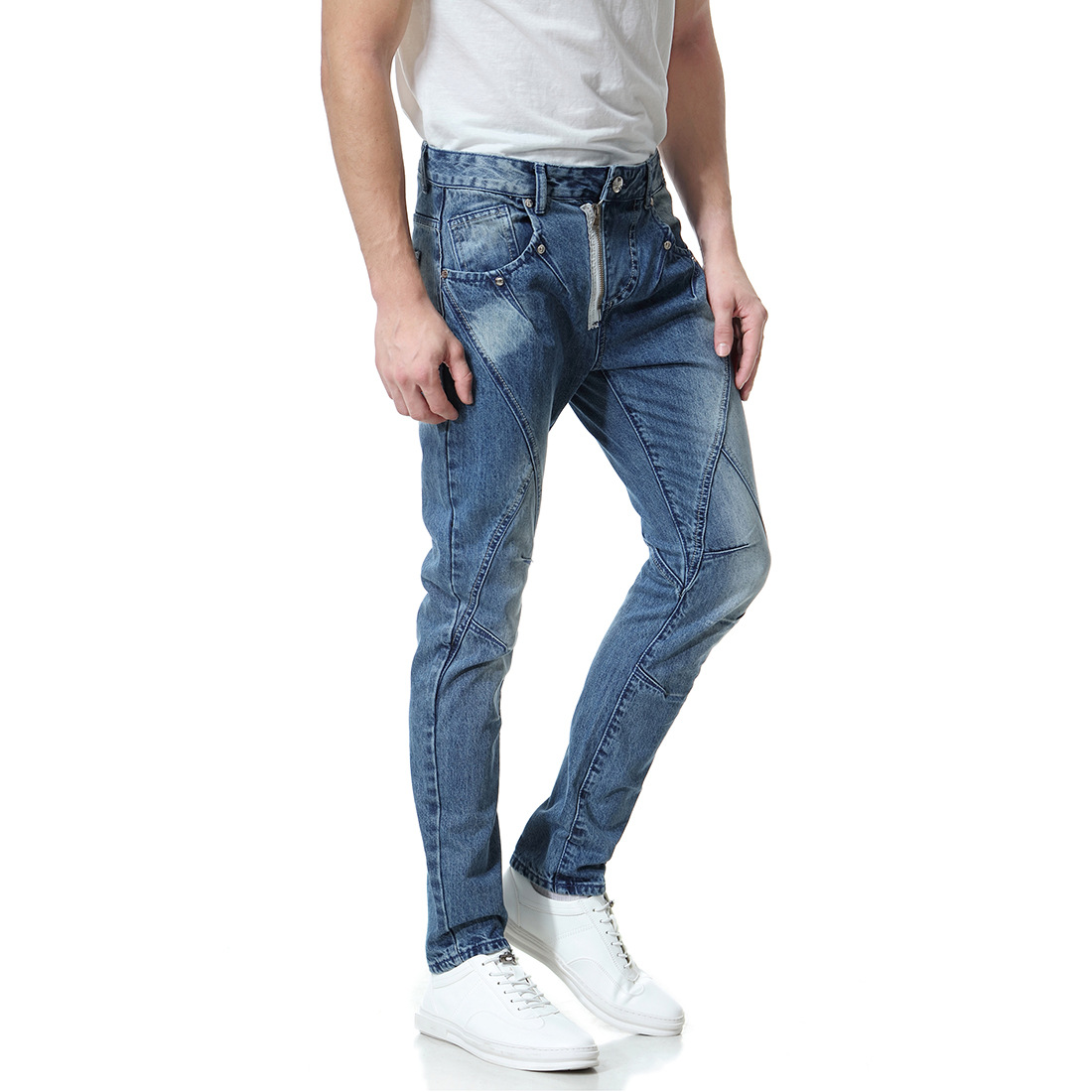 2019 New Large Size Men's Jeans Washed White Denim Trousers Diagonal Zip Personality Pants Xy1003