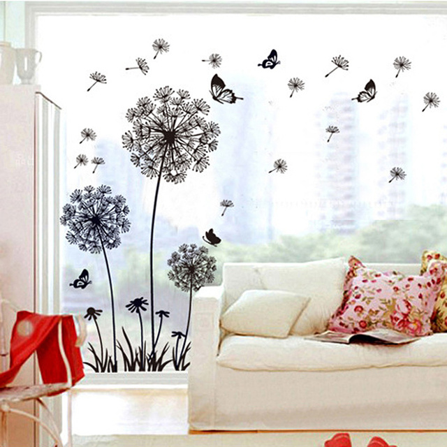 Black Dandelion & Butterfly Wall Sticker