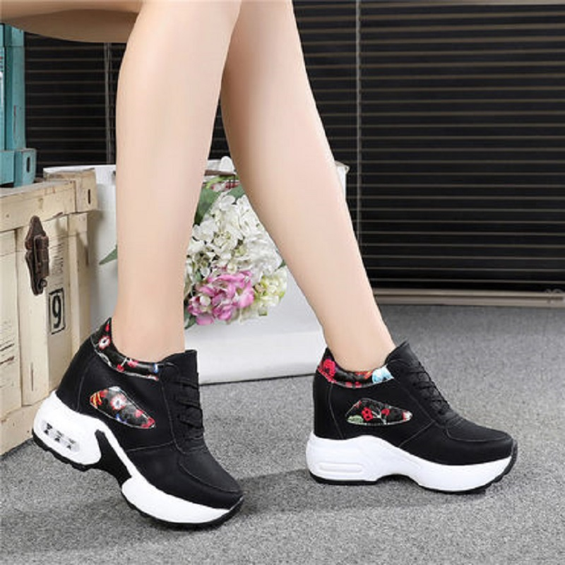 Shoes Wedges Spring Thick-Soled-Printed New-Style Women's And Summer Lace-Up Casual Increase