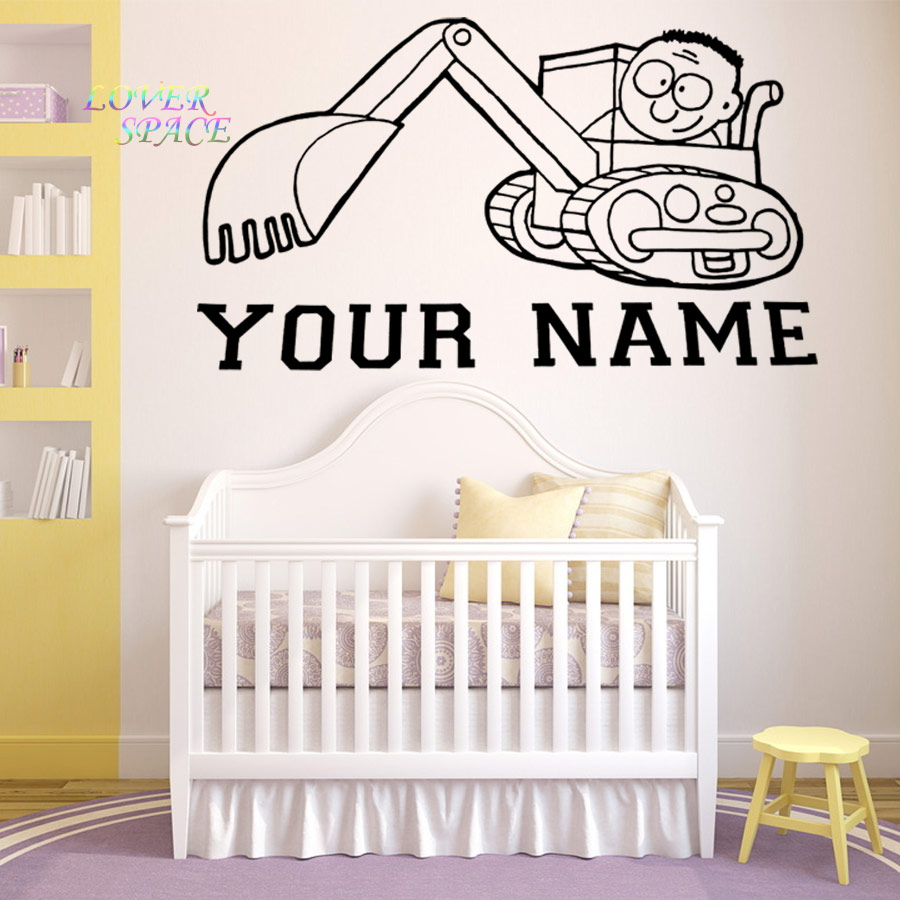 compare prices on personalised wall decals online shopping buy personalised name excavator wall sticker classic boy wall decal home decor vinyl wall stickers for kids