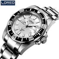 LOREO Importierte Bewegung Mechanische Uhren Mens Sapphire Glas 200m Wasserdichte Edelstahl Militärische Automatische Uhr Relogio