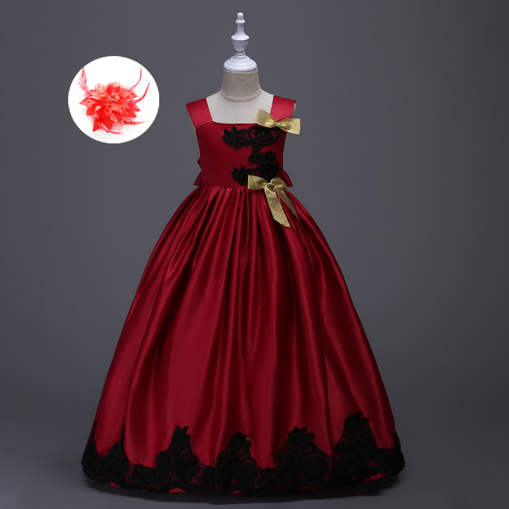 New Arrival Kids Beautiful Tea Length Evening Pageant Dresses Yellow Red Green Purple Blue Girls Dress Ball Gown with Black Lace 2016 new dragon ball 250g selenium enriching special grade cui feng green tea ziyang county ankang city fresh slimming tea