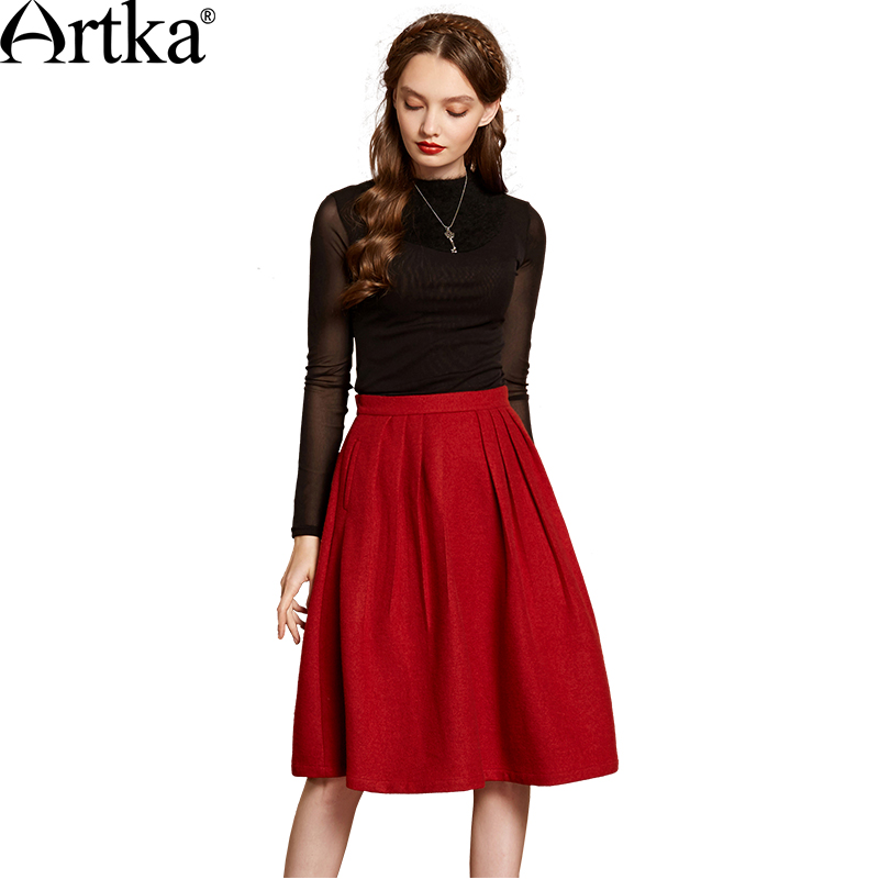 Artka 2018 Autumn& Winter A-Line Vintage Classic Office lady Casual Knee-Length All-match Skirt QA10078Q