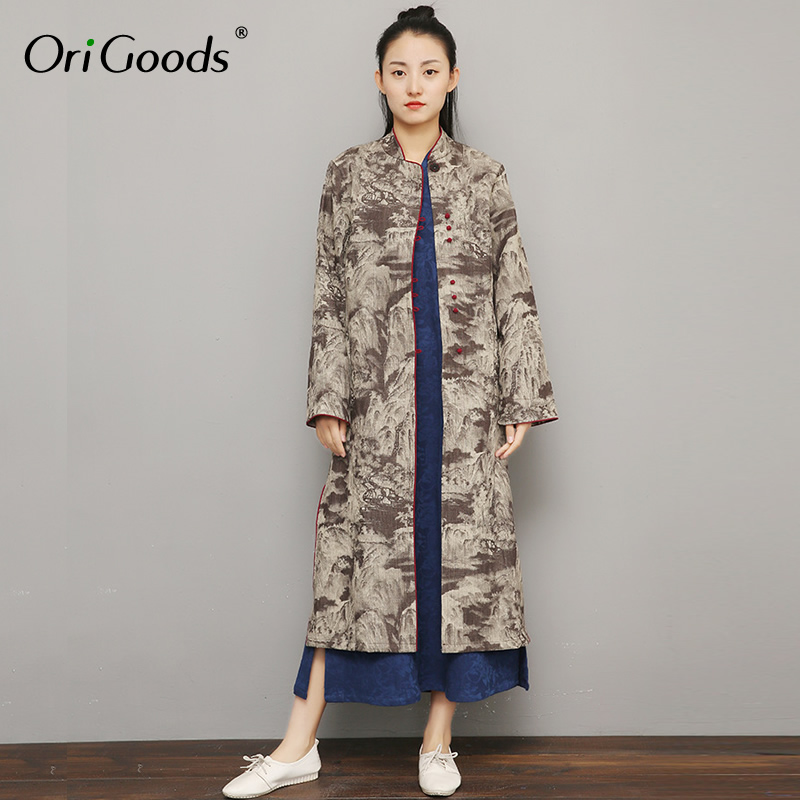 OriGoods Chinese style Long   Trench   Coat Women Print Long sleeve Outwear 2019 Spring New Vintage Long Coat Mode Femme F037