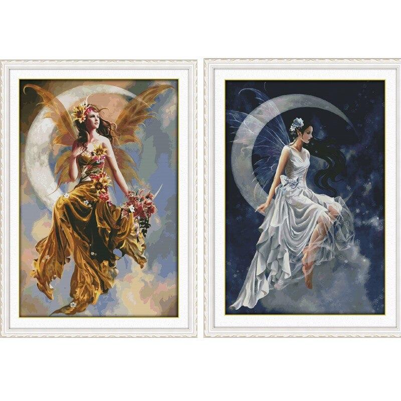 Grande taille la lune fée peinture compté point de croix Kits 14CT 11CT imprimé DMC point de croix bricolage broderie couture ensembles