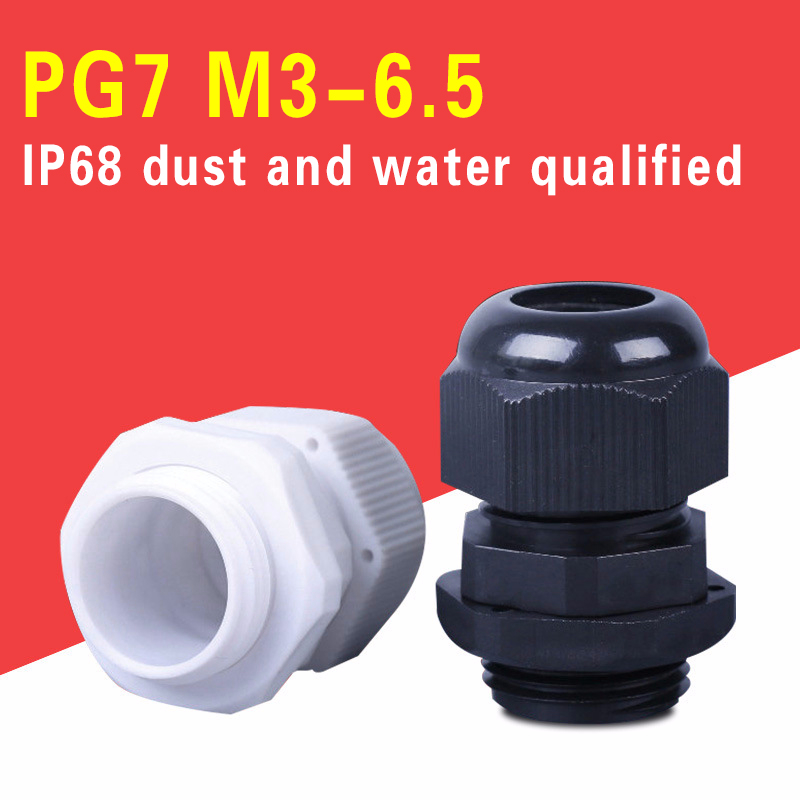 100pcs Hot Sale IP68 Waterproof Nylon Plastic Cable Gland Connector PG7 for 3-6.5mm Cable Glands image
