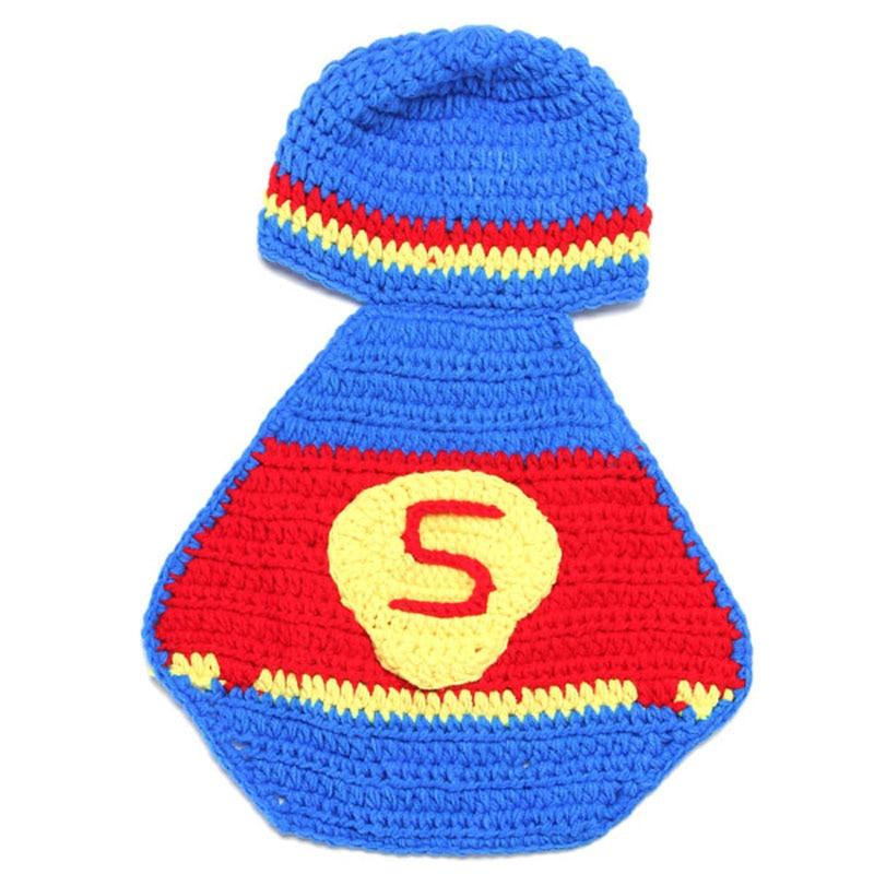 Newborn Crochet Superman Design Costume Set Baby Photography Props