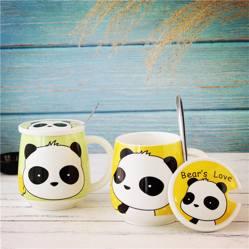 4 Color Kawaii Cartoon Panda Mugs with spoon ceramic cup with lid water bottles coffee milk mug tea cups Lover Birthday Gifts