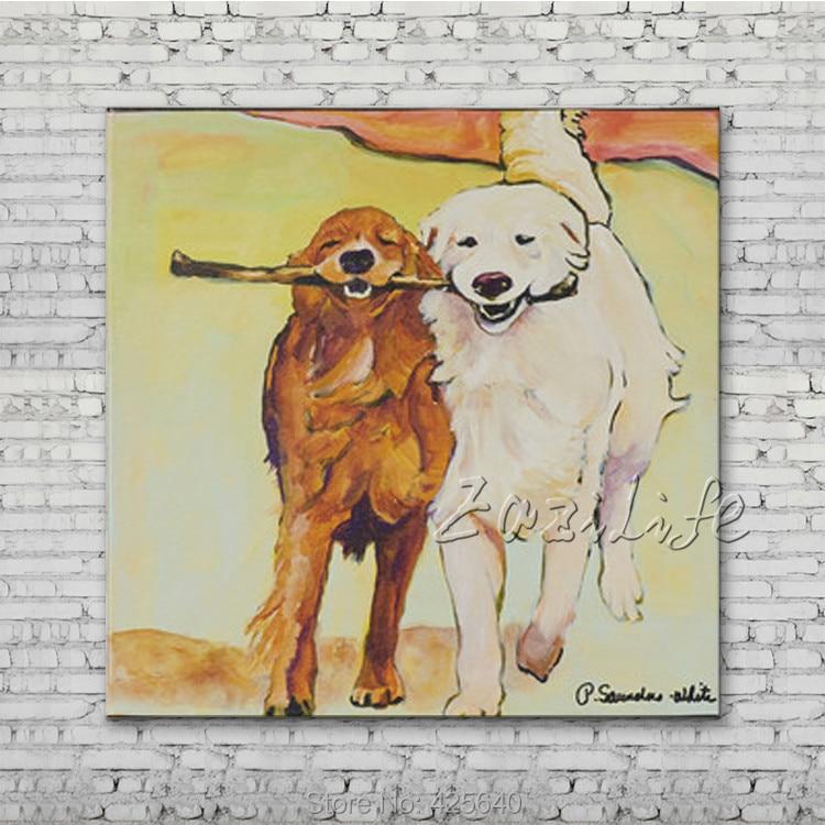 Stick-with-Me-impression sur toile-chien-peinture à l'huile sur toile photos murales peintures pour salon peint à la main toile peintures à l'huile