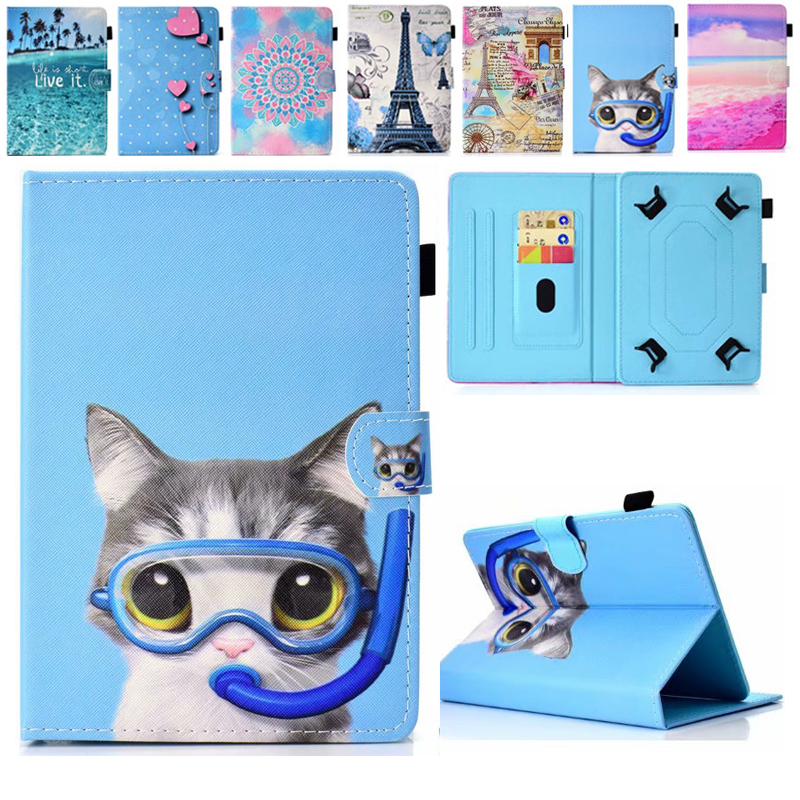 10.1 Inch Universal Cover For Huawei Mediapad T3/M3 Lite/Samsung Tab 10.1 Inch T580 T590 Tablet Printed PU Leather Stand Case