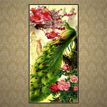 Diamond painting / animal peacock pattern 5D DIY diamond cross stitch round shape embroidery home