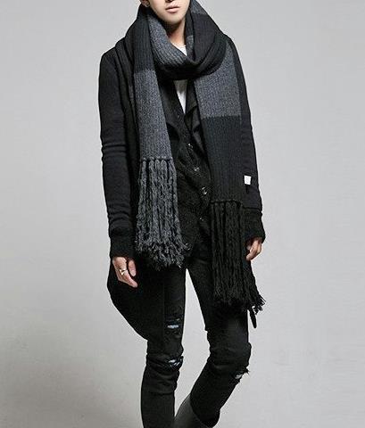 7991b21dc Scarves Wraps new fashion mens oversized geometric black gray wool scarf  fringed 330160