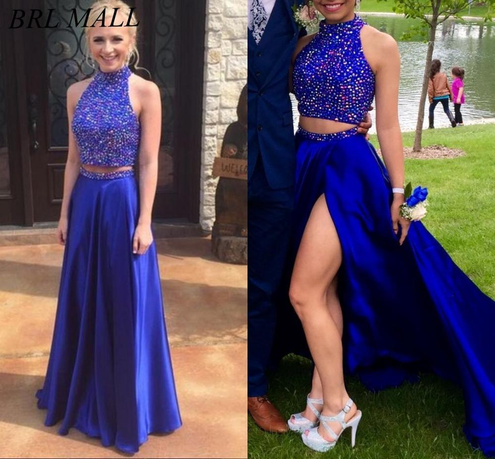Royal Blue Beaded Crystal Two Pieces   Prom     Dresses   2019 Backless Halter Long Formal Party Gowns High Side Split Evening   Dress