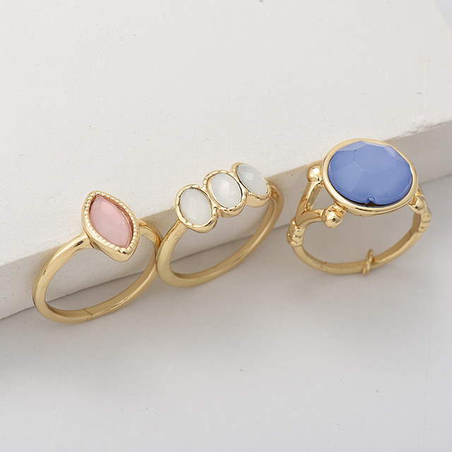 line Shop New 3pcs set Boho Style Gold Color Geometric Ring Sets