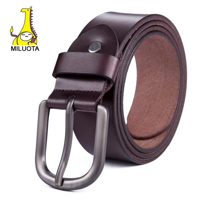[MILUOTA] 2015 correa de cuero Genuina de los hombres de moda marca correa masculina pin hebilla cinturones de diseño simple jeans cinto cinturón de lujo WND001