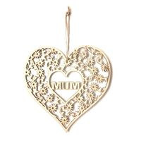Hollow Wooden Plaque Mum Flowers Heart Shape Craft Hanging Ornament Decoration Mother's Day Birthday Gift Embellishments