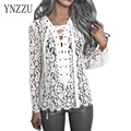 YNZZU New Women Lace Shirt Fall Spring Fashion Long Sleeve V Neck Bandage Female Shirt Blouse Black White Classic TOP YT112