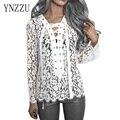 YNZZU Nuevas Mujeres Camisa de Encaje de la Moda de Primavera Otoño Largo de La Manga V Del Vendaje Del Cuello de la Camisa Femenina Blusa Negro Blanco Clásico SUPERIOR YT112