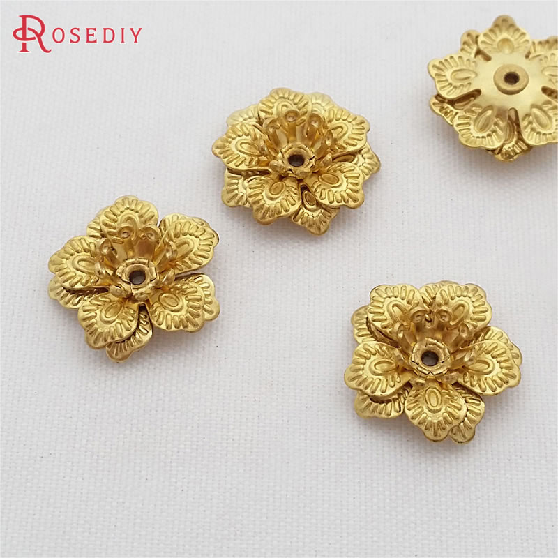 (29472)20PCS 13.5MM,height 4.5MM Not Plated Color Brass 3D Flowers Beads Caps Diy Jewelry Findings Accessories Wholesale
