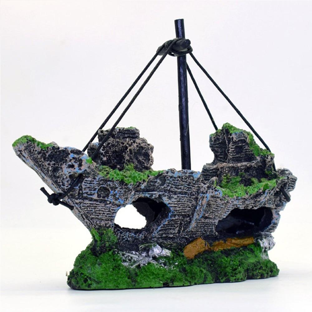 Energisch Dekorative Felsen Schiff Harz Angeln Shipwreck Boot Aquarium Ornament Kunststoff Dekoration Anlage Für Fische Tank Zubehör #2