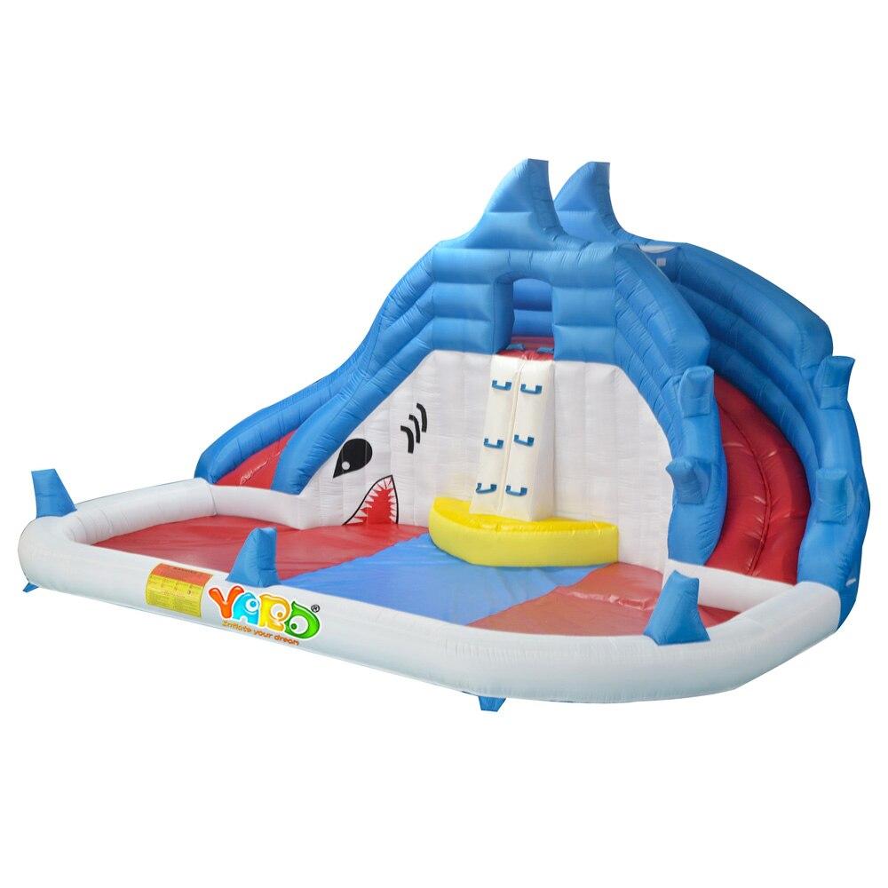 COUR Requin Toboggan Gonflable Parc Aquatique avec Piscine pour L'été Gonflable Toboggan Jeux pour Enfants