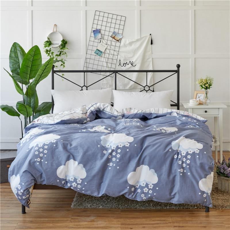 Cute Light Blue White Clouds Pattern 100% Cotton 1pcs High Density Duvet Covers Set Bedding Double Single Quilts cover 6 Size
